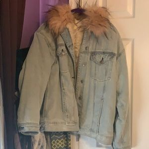 Sherpa Lined Denim Jacket with Faux Fur